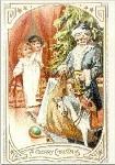 Weihnachtsmann mit Tannenbaum. Altes Motiv um 1900. KK