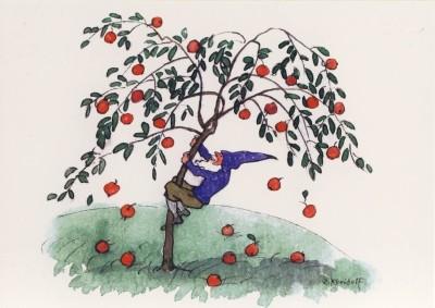 Kreidolf, E. Zwerge beim Apfelschütteln. KK