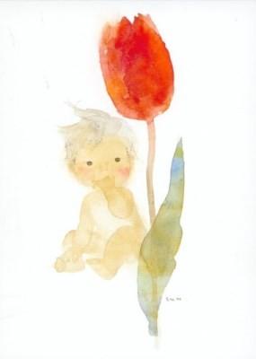 Chihiro Iwasaki. Tulpe und Baby, 1971. KK