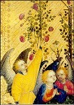 Lochner, S. Maria in der Rosenlaube, Engelgruppe rechts. KK