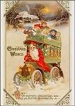 Der Weihnachtsmann als Busfahrer. Altes Motiv um 1900. KK