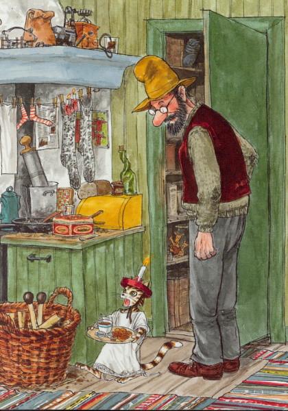 Nordqvist, S. Pettersson in der Küche. KK