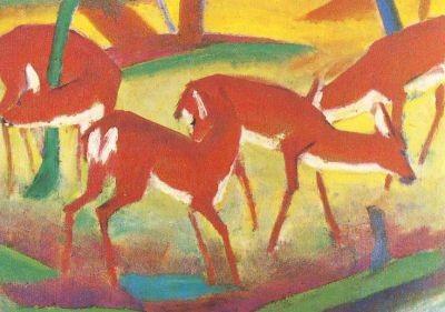 Franz Marc. Rote Rehe (Ausschn.), 1910. KK