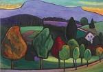 Gabriele Münter. Landschaft mit blauem Berg, 1952. KK