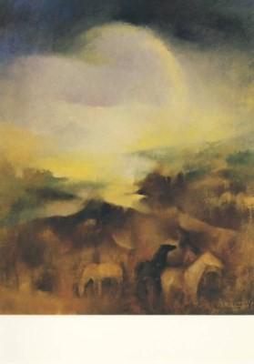 Habegger, J.-D. Landschaft mit Pferden. KK