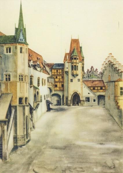 Albrecht Dürer. Hof der Innsbrucker Burg, 1494
