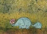 Korth-Sander, I. Elefant, klein und gr. m. Blumenstrauß. KK