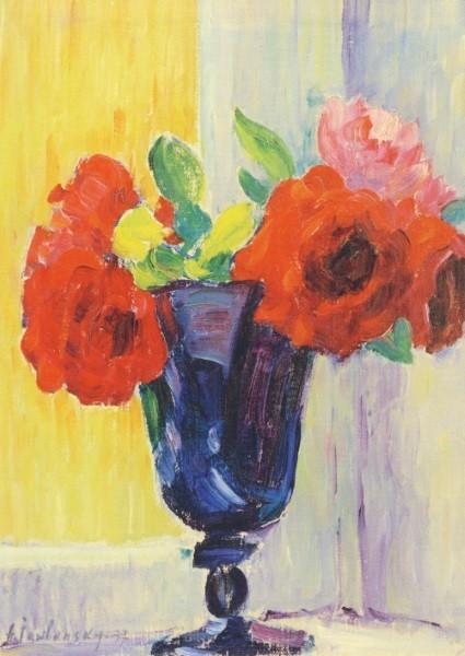 Alexej von Jawlensky. Gr. Stillleben: Rosen in Blauer Vase