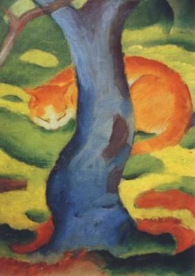 Franz Marc. Katze hinter einem Baum, 1910/11. KK