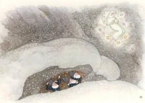 """Ernst Kreidolf. Der Schneesturm (aus """"Wintermärchen"""")"""
