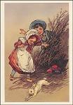 Kind am Osternest. Altes Motiv um 1900. KK