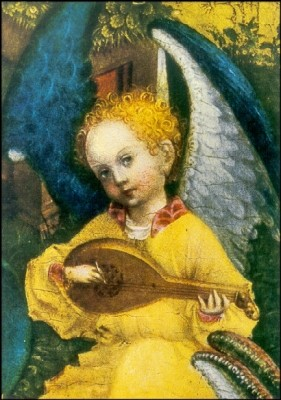 Lochner, S. Laute spielender Engel, Ausschnitt. KK