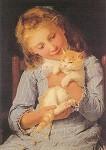Albert Anker. Mädchen mit Katze. KK
