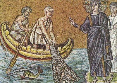 Mosaik. Die Berufung der Apostel Petrus und Andreas, 6. Jh.