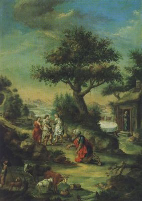 Schütz, Christian Georg. Abraham und die drei Engel, 1751