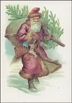 Der Weihnachtsmann mit Tannenbaum. Altes Motiv um 1900. KK