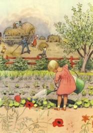 Beskow, E. Mädchen bei der Gartenarbeit. KK