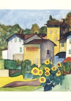 Hermann Hesse. Tessiner Dorf mit Sonnenblumen, 1927