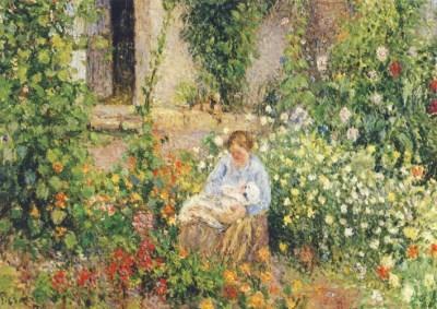 Camille Pissarro. Mutter und Kind in den Blumen, 1879