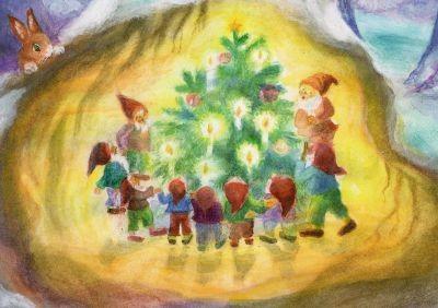 Dorothea Schmidt. Die Zwerge bewundern den Weihnachtsbaum