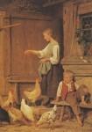 Anker, A. Mädchen Hühner fütternd, Anker