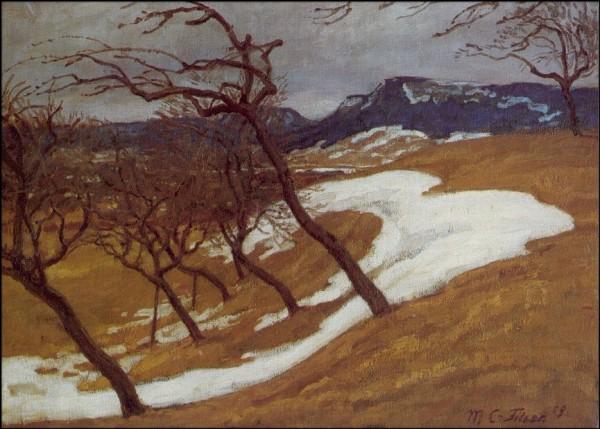 Caspar-Filser, Maria.Schneeschmelze (Balinger Alb), 1909. KK