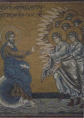 Schöpfung des Lichtes 2, um 1174. Mosaik. KK