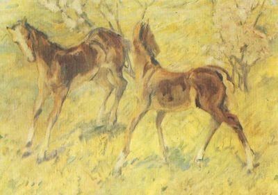 Franz Marc. Fohlen auf der Weide, springende Fohlen, 1909