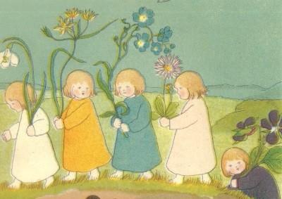 Sybille von Olfers. Wurzelkinder 4, Blumen in der Hand. KK
