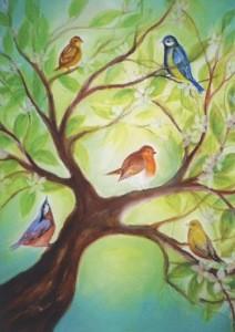 Baukje Exler. Vogels in boom. Vögel im Baum