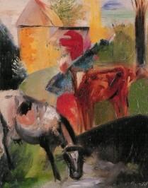 Partikel, A. Frau mit Kühen, 1920. KK