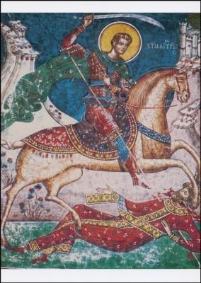 Heiliger Demetrios, den untreuen Riesen Lie tötetend