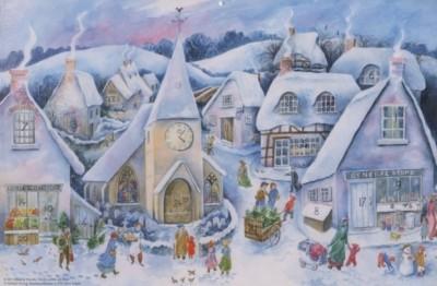Johanna Woods. Weihnacht im Dorf, 47x31cm.