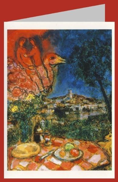 Marc Chagall. Gedeckter Tisch mit Auss. a. St. Paul de Vence
