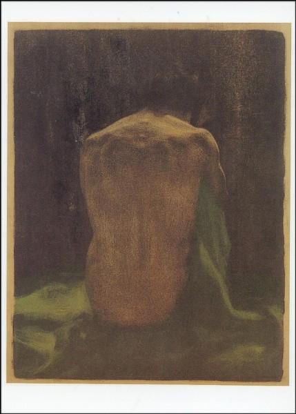 Kollwitz, Kaethe. Rückenakt auf grünem Tuch, 1903. KK