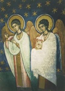 Engelwesen aus Himmlische Hierarachien,Anf.16.Jh.Fresko. KK
