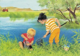 Muller, G. Sommer, Kinder beim angeln. KK