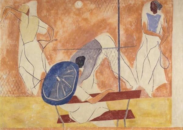 Roesch, Carl. Vorzeichnung für Wandmalerei im Bade..1934. KK