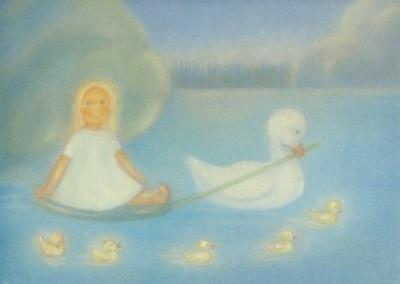 Ruth Elsässer. Goldtöchterchen mit Ente, 30 x 23 cm. KD