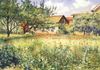 Johan Eric Ericson, Mohnblumen auf sonniger Wiese, 1923