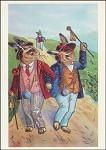 Osterhasen gehen spazieren. Altes Motiv um 1900. KK
