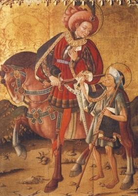 Gotische Malerei. St. Martin teilt seinen Mantel. KK