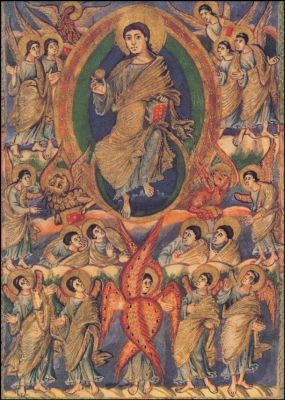Christus umgeben von himmlischen Chören, um 850. KK
