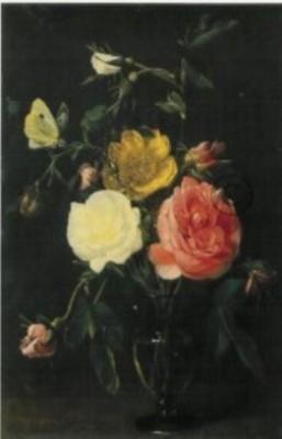 Seghers, Daniel. Rosen in einer Glasvase, 1635. KK
