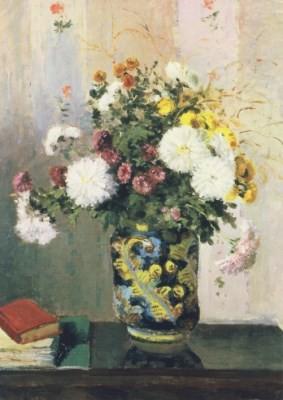 Camille Pissarro. Blumenstrauß, Chrysanthemen/Chin.-Vase