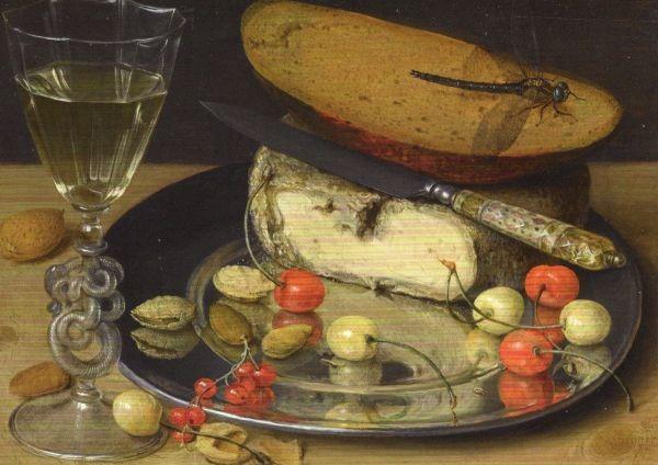 Georg Flegel. Stillleben mit Käse und Kirschen. 1635