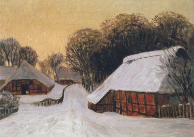 Hans Ende. Worpsweder Dorfstraße im Schnee. KK