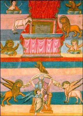 Franz. Manuskript. Die vier Evangelistensymbole, um 835. KK