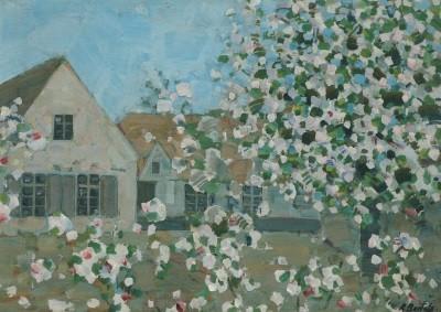 Rudolf Bartels. Häuser mit blühendem Baum, um 1908