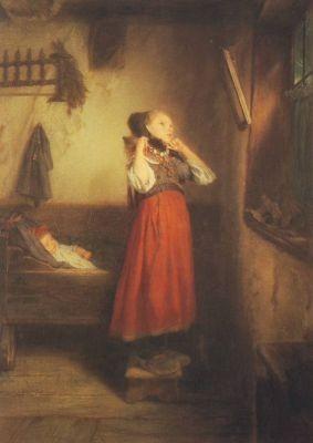 Manes, Q. Das Bauernmädchen vor dem Spiegel. KK